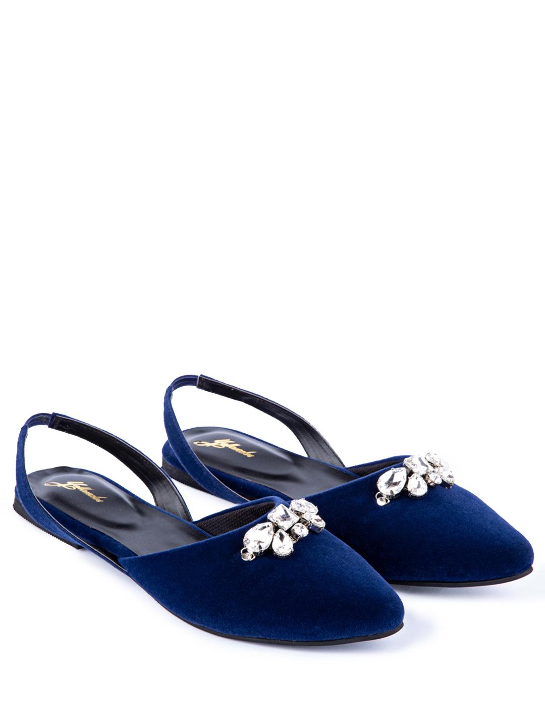 Yellow Soles Blue Diamante Embellished Slingback Mules 1