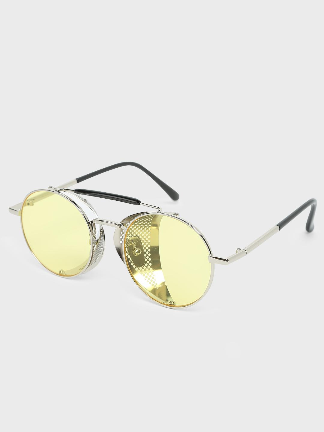 Fuzoku Golden/Yellow Golden/Yellow Metal Round Frame Sunglasses 1