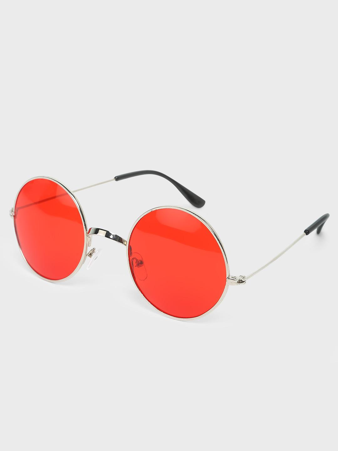 Fuzoku SILVER/RED Round Rim Tea-Shades Sunglasses 1