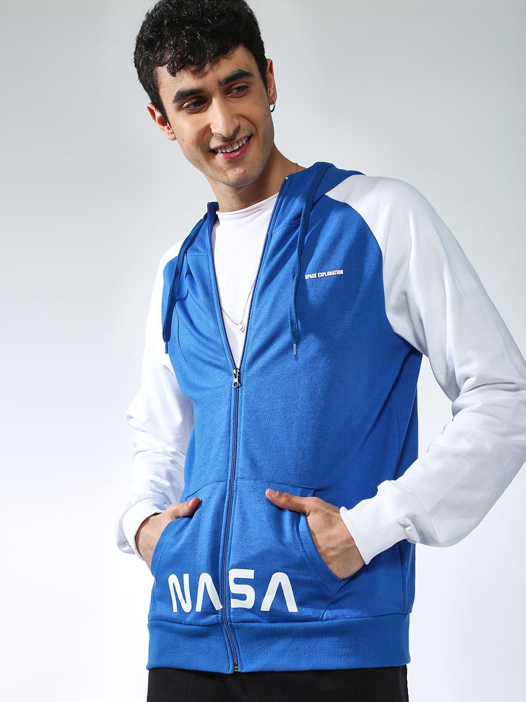 MASH UNLIMITED ROYAL/WHITE Nasa Text Print Color Block Hoodie 1