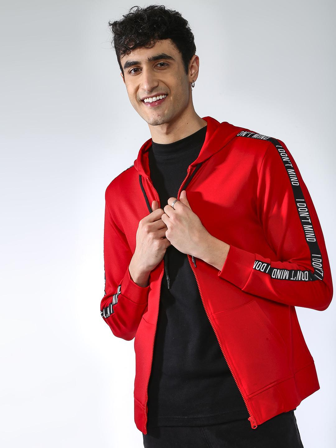 MASH UNLIMITED Red Solid Side Tape Sweatshirt 1