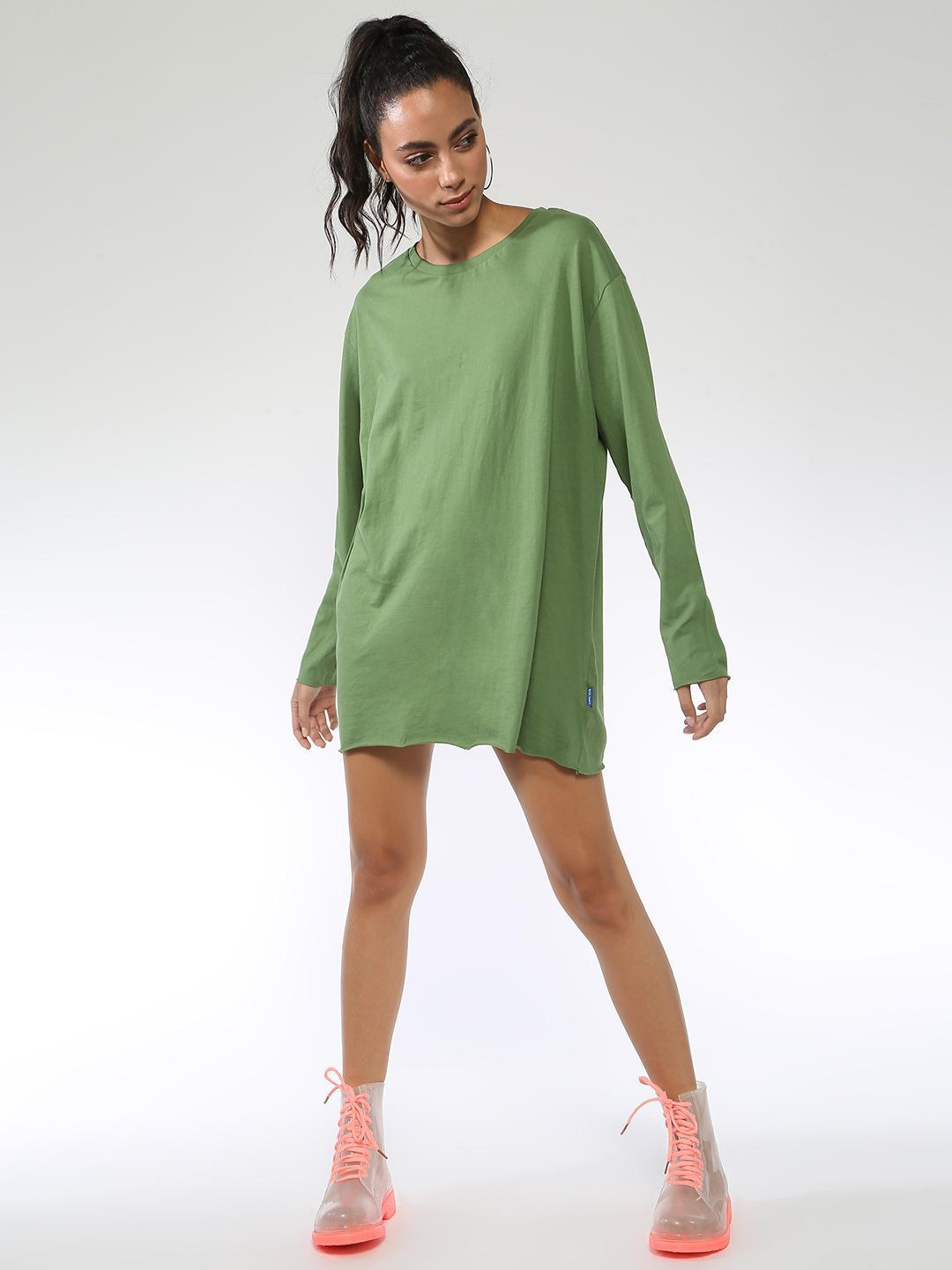 Blue Saint Olive Long Sleeve Shifted Top 1