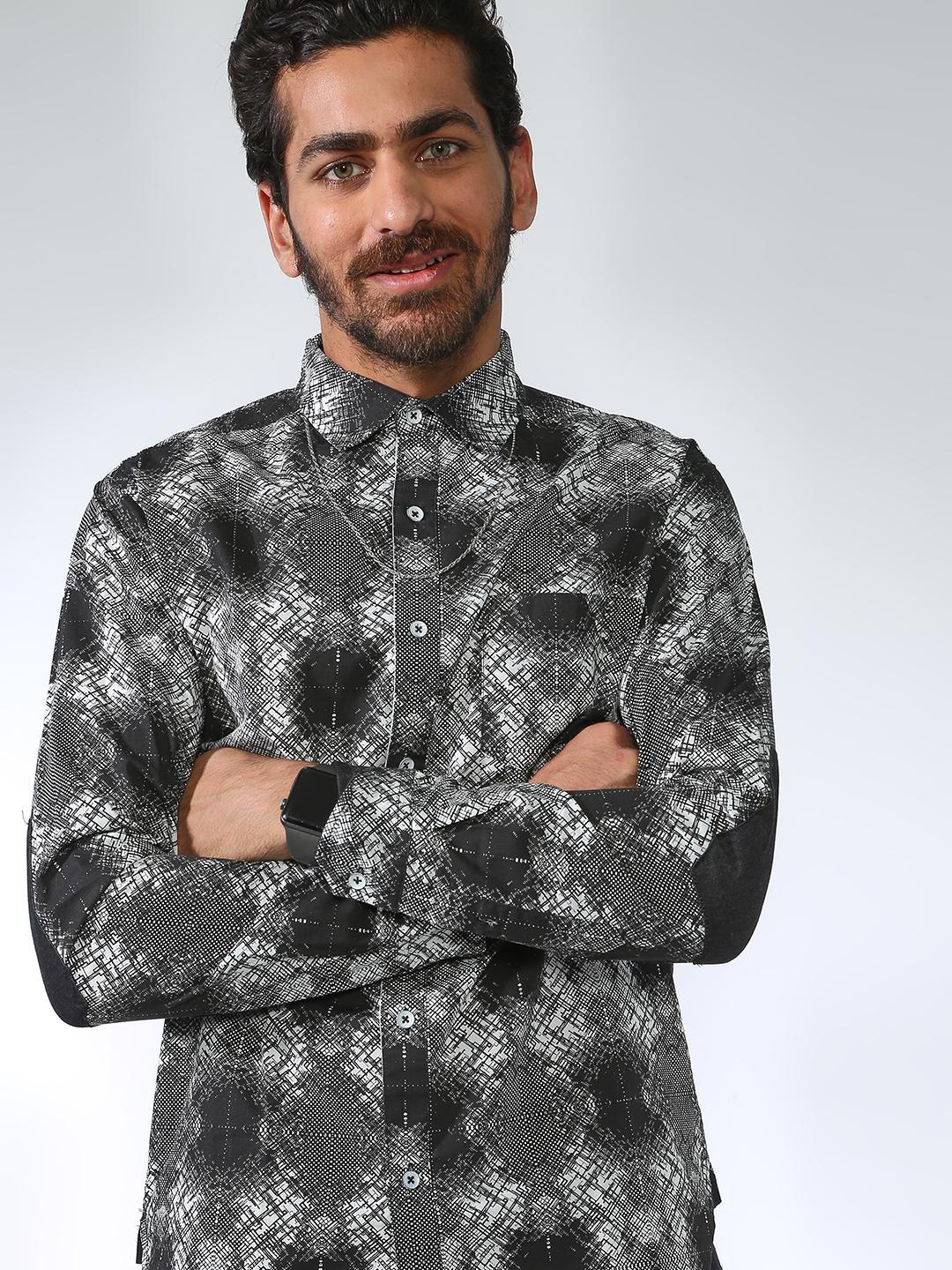 Blue Saint Multi All Over Print Elbow Patch Shirt 1