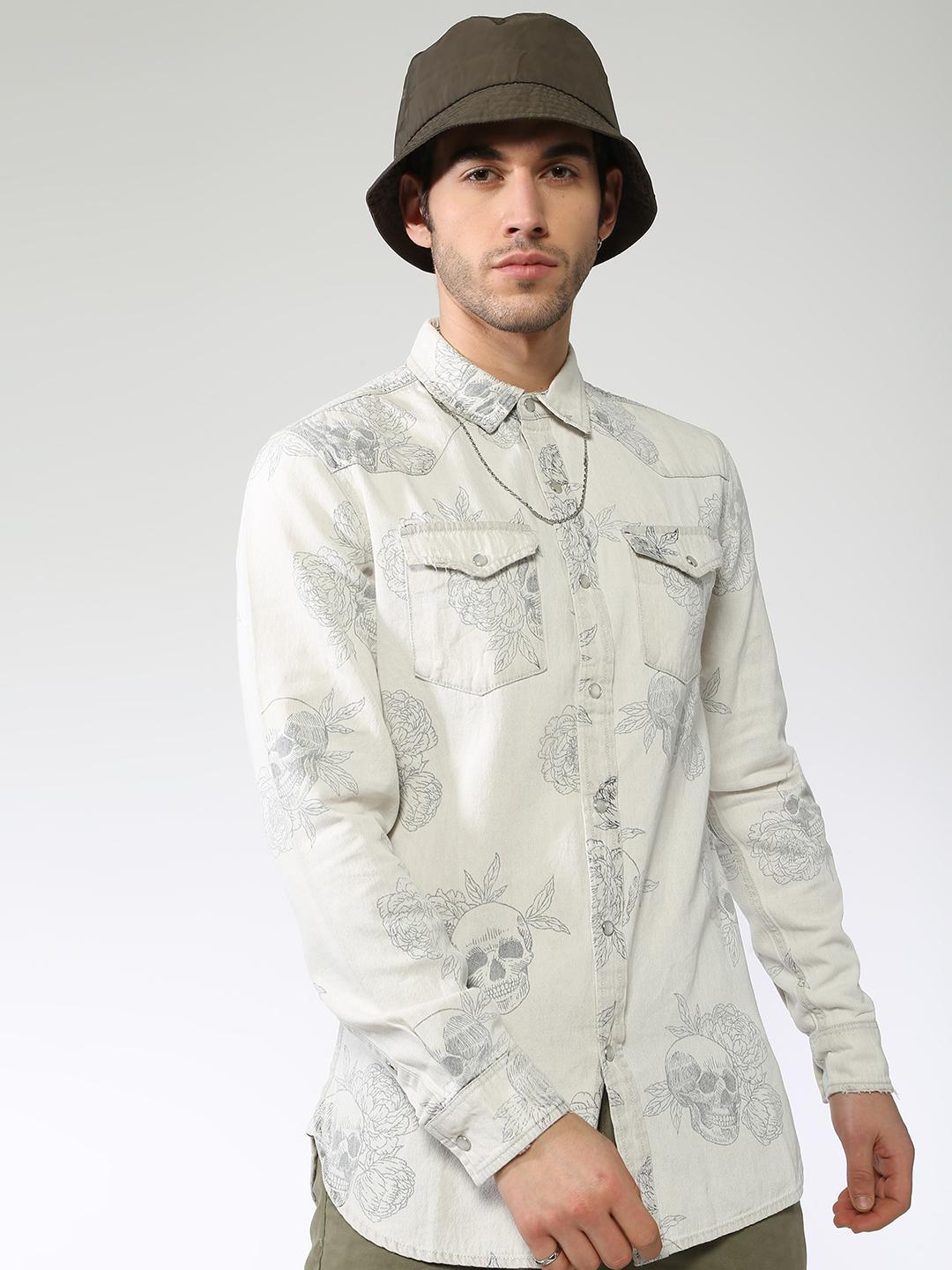 Blue Saint OFFWHITE All Over Floral And Skull Print Shirt 1