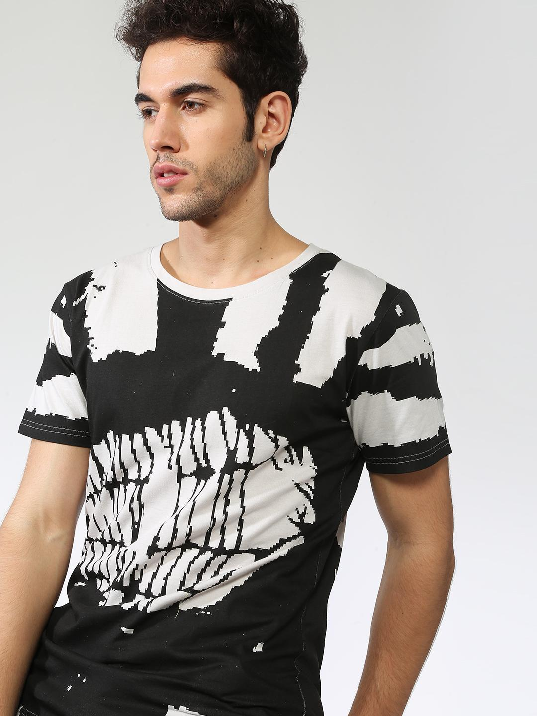 Blue Saint Black All Over Abstract Print Slim Fit T-shirt 1
