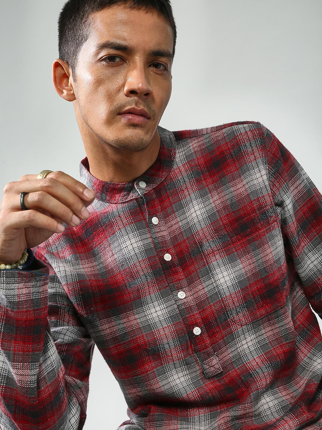 Blue Saint Multi Check Box Long Sleeve Shirt 1