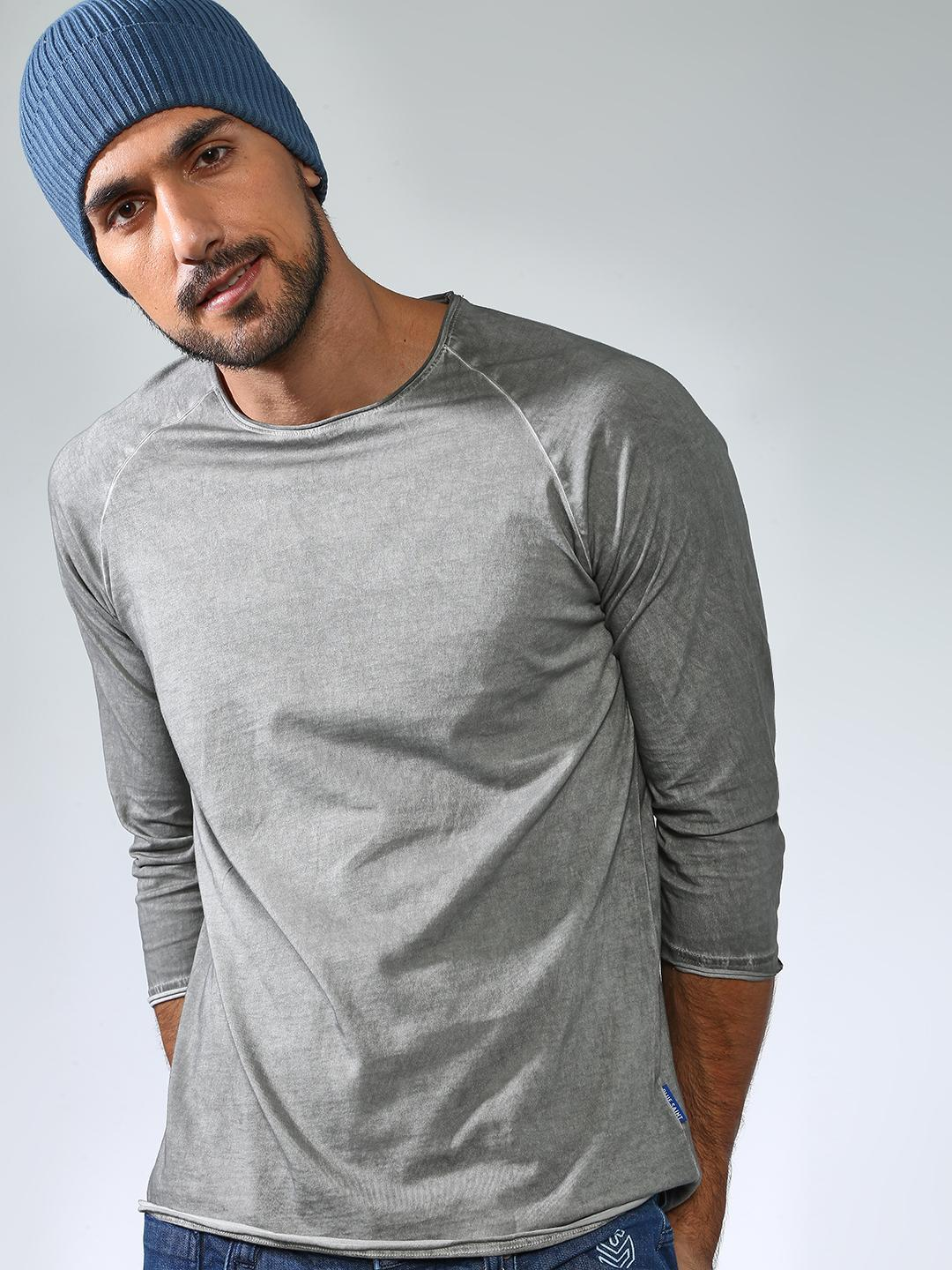 Blue Saint Grey Casual Round Neck Tshirts 1