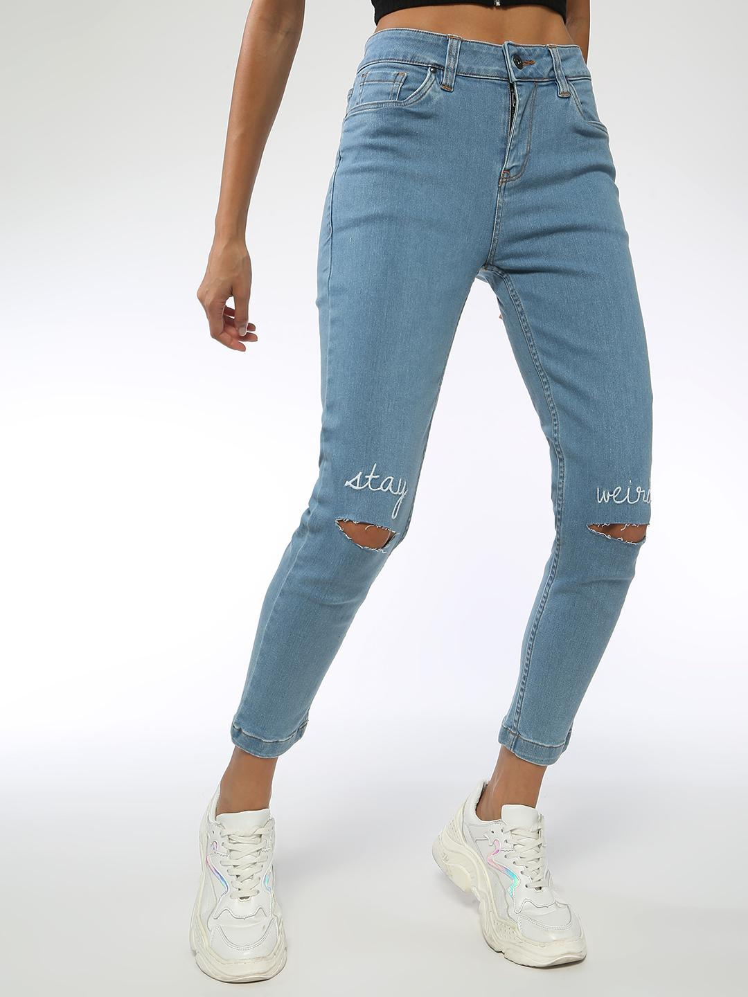 Blue Saint Blue Slogan Embroidered Ripped Jeans 1