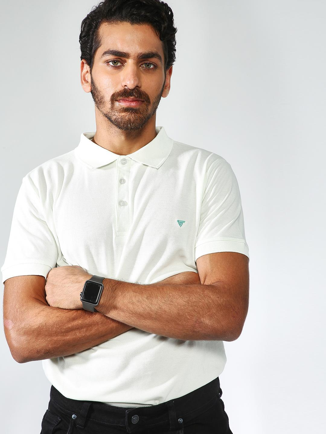 Blue Saint OFFWHITE Basic Muscle Fit Polo T-shirt 1