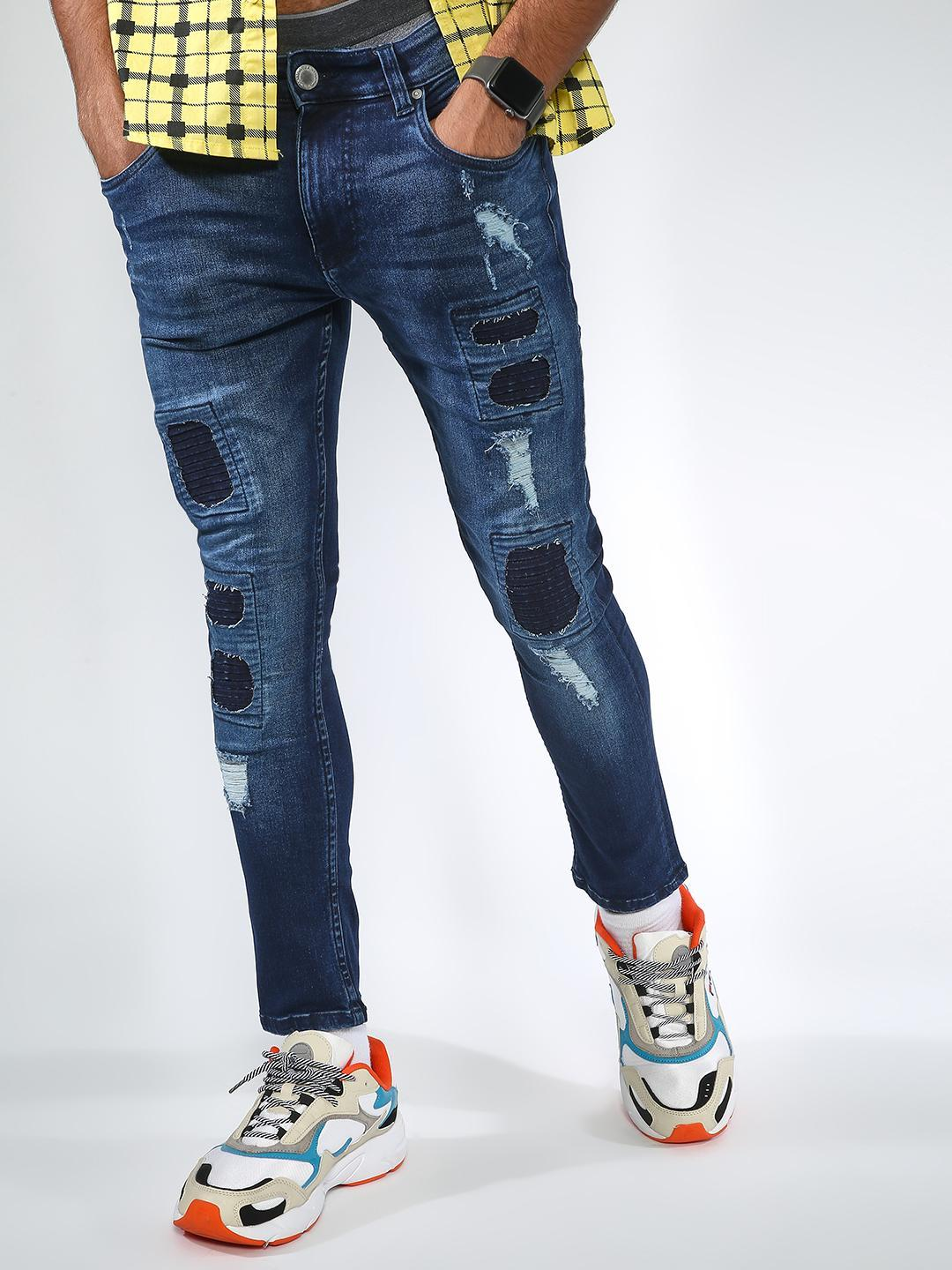 Blue Saint Blue Sew Patch Ripped Jeans 1