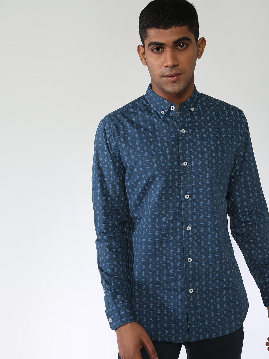 Blue Saint Green All Over Printed Long Sleeves Shirt 1
