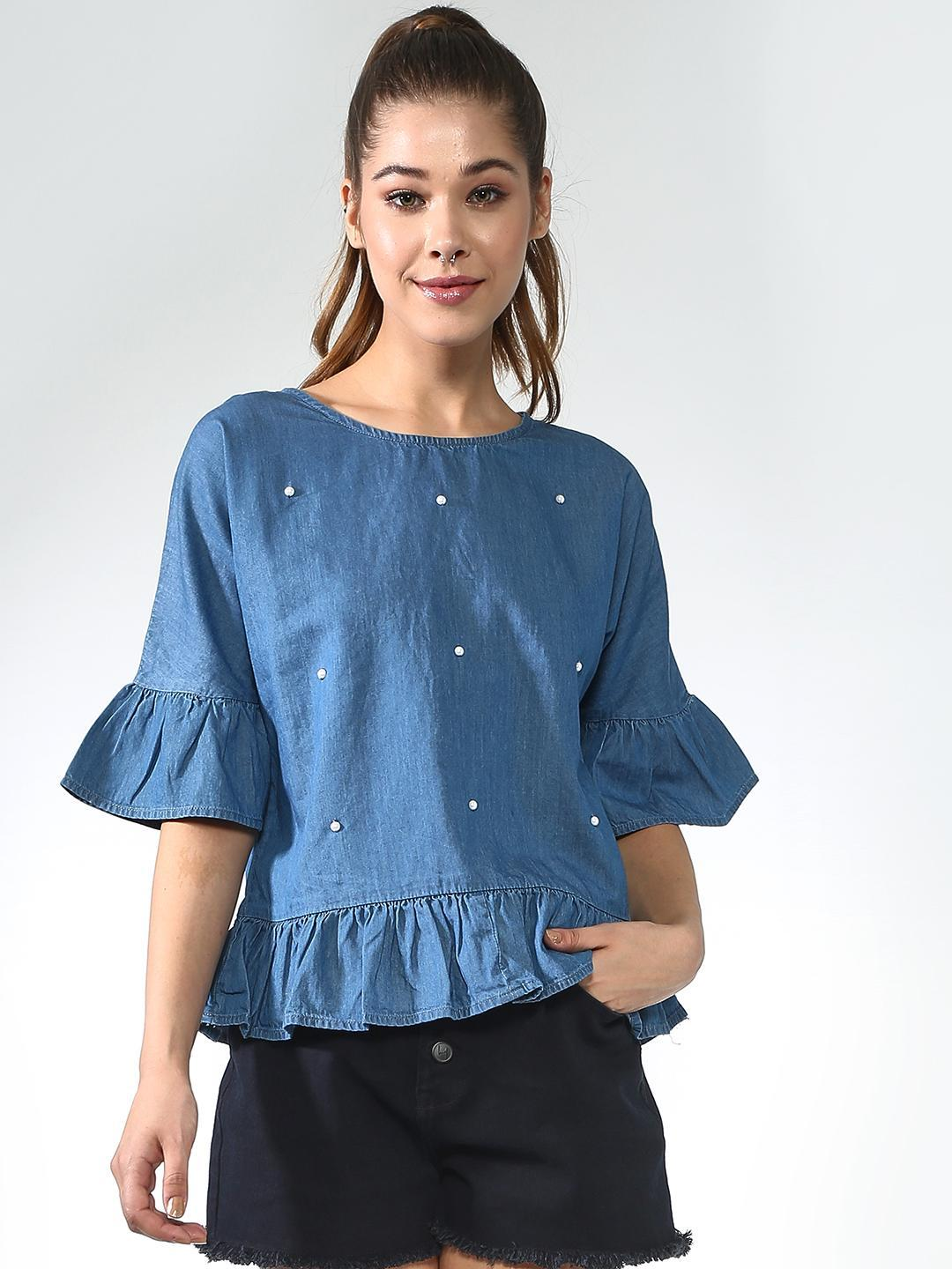 Blue Saint Blue Embellished Denim Peplum Top 1