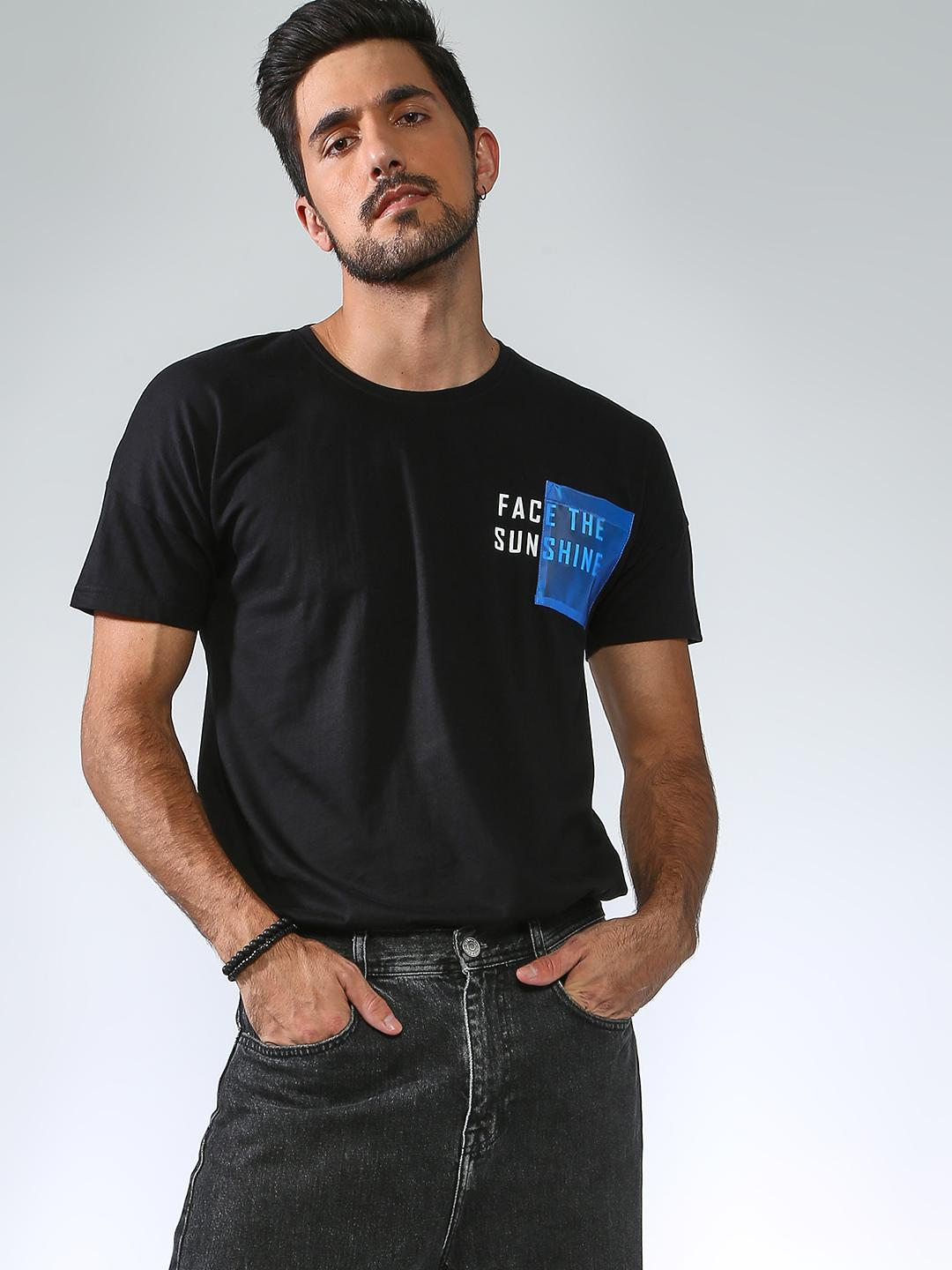 Blue Saint Black Text Placement Contrast Pocket T-shirt 1