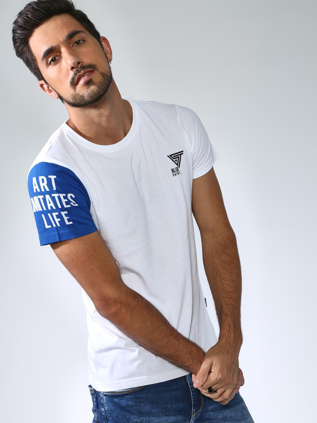 Blue Saint White Slogan Print Crew Neck T-shirt 1