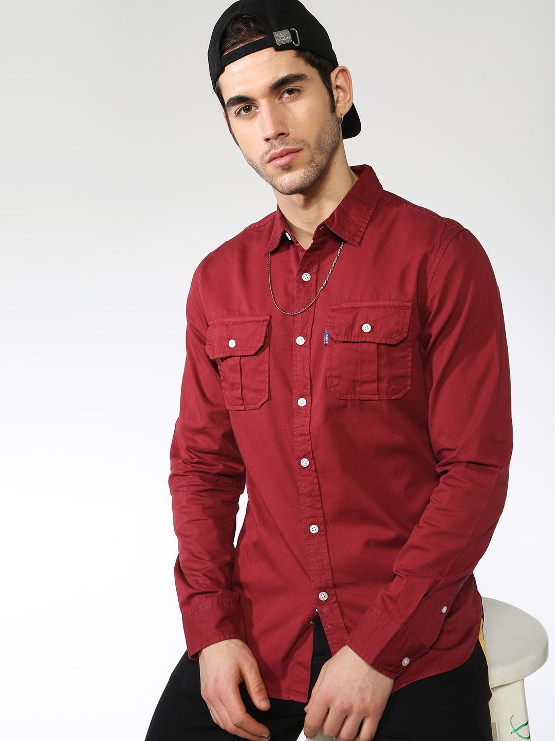 Blue Saint Red Solid Twin-Patch Pocket Slim Shirt 1