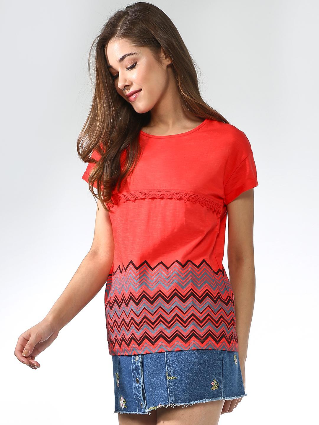 Blue Saint Red Chevron Print Short Sleeve Top 1