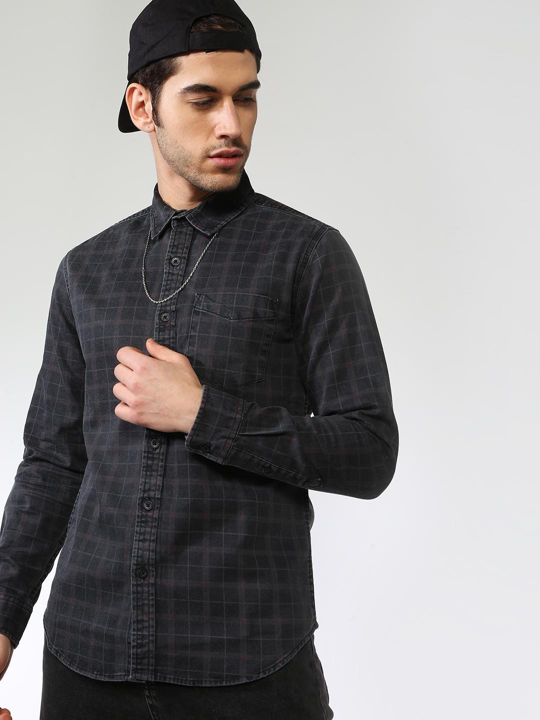 Blue Saint Black All Over Check Printed Shirt 1
