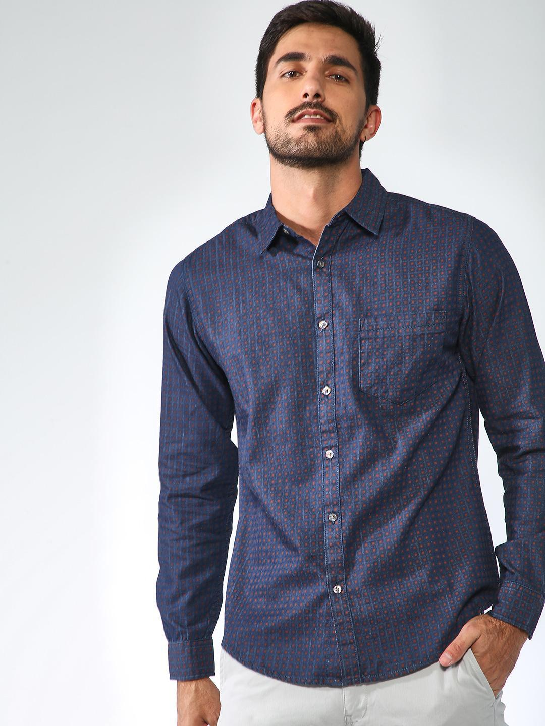 Blue Saint Navy All Over Printed Casual Shirt 1