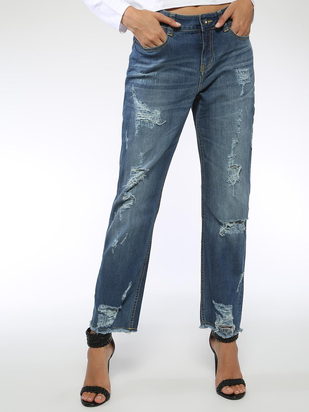 Blue Saint Blue Distressed Ripped Regular Fit Jeans 1