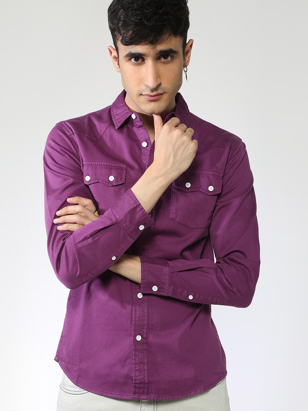 Blue Saint Purple Twin Pocket Slim Fit Shirt 1