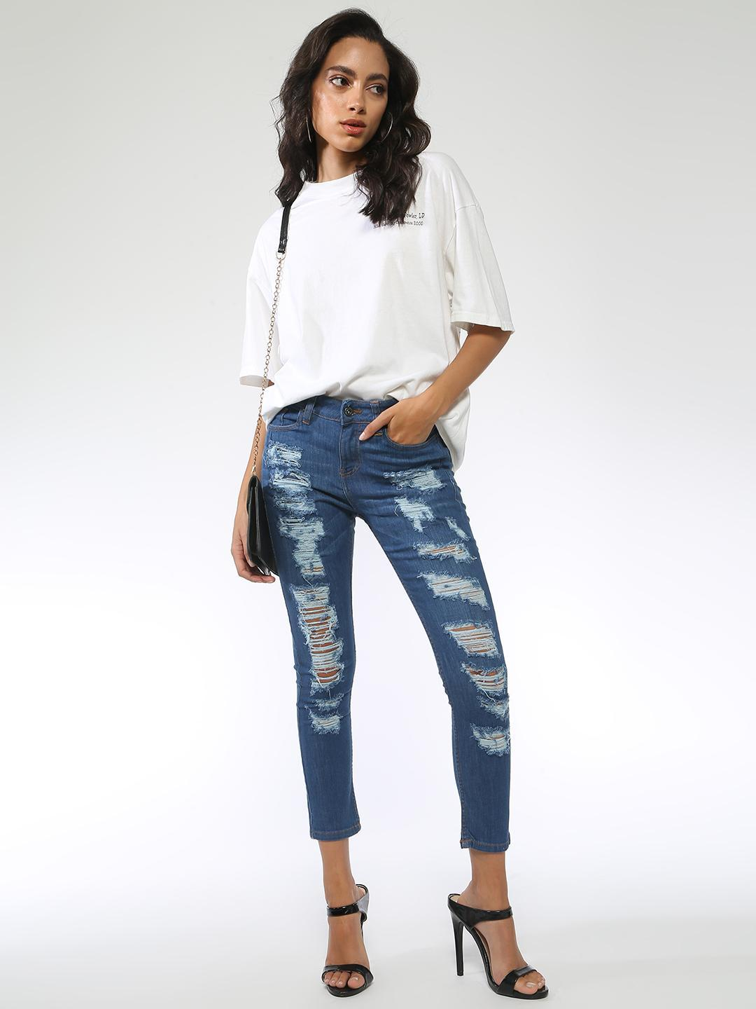 Blue Saint Blue Ripped Skinny Jeans 1