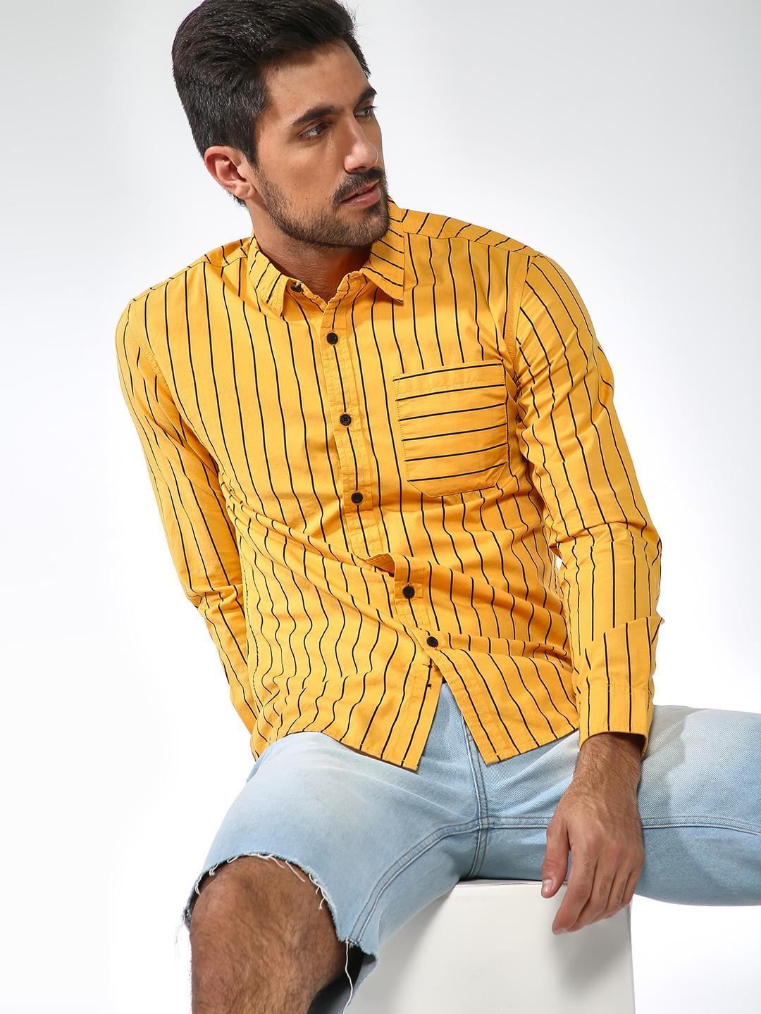 Blue Saint Yellow Elbow Patch Vertical Stripe Shirt 1
