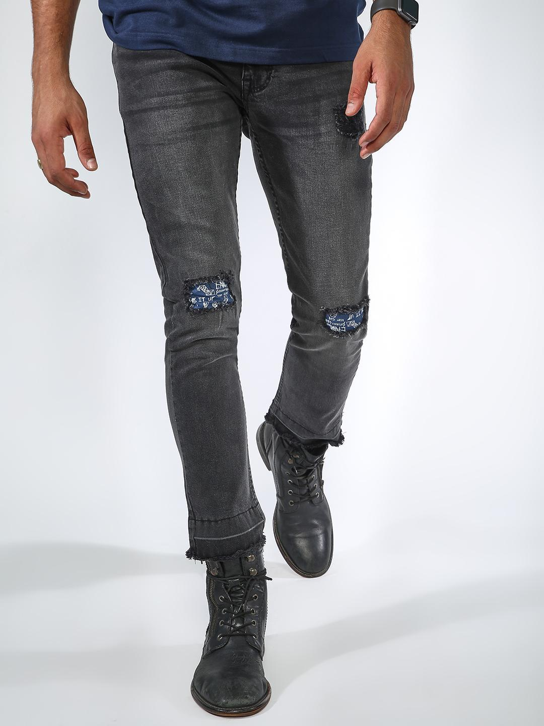 Blue Saint Grey Light Wash Distressed Patch Jeans 1