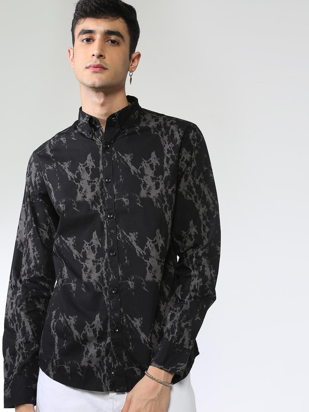 Blue Saint Black Camo Print Long Sleeve Shirt 1