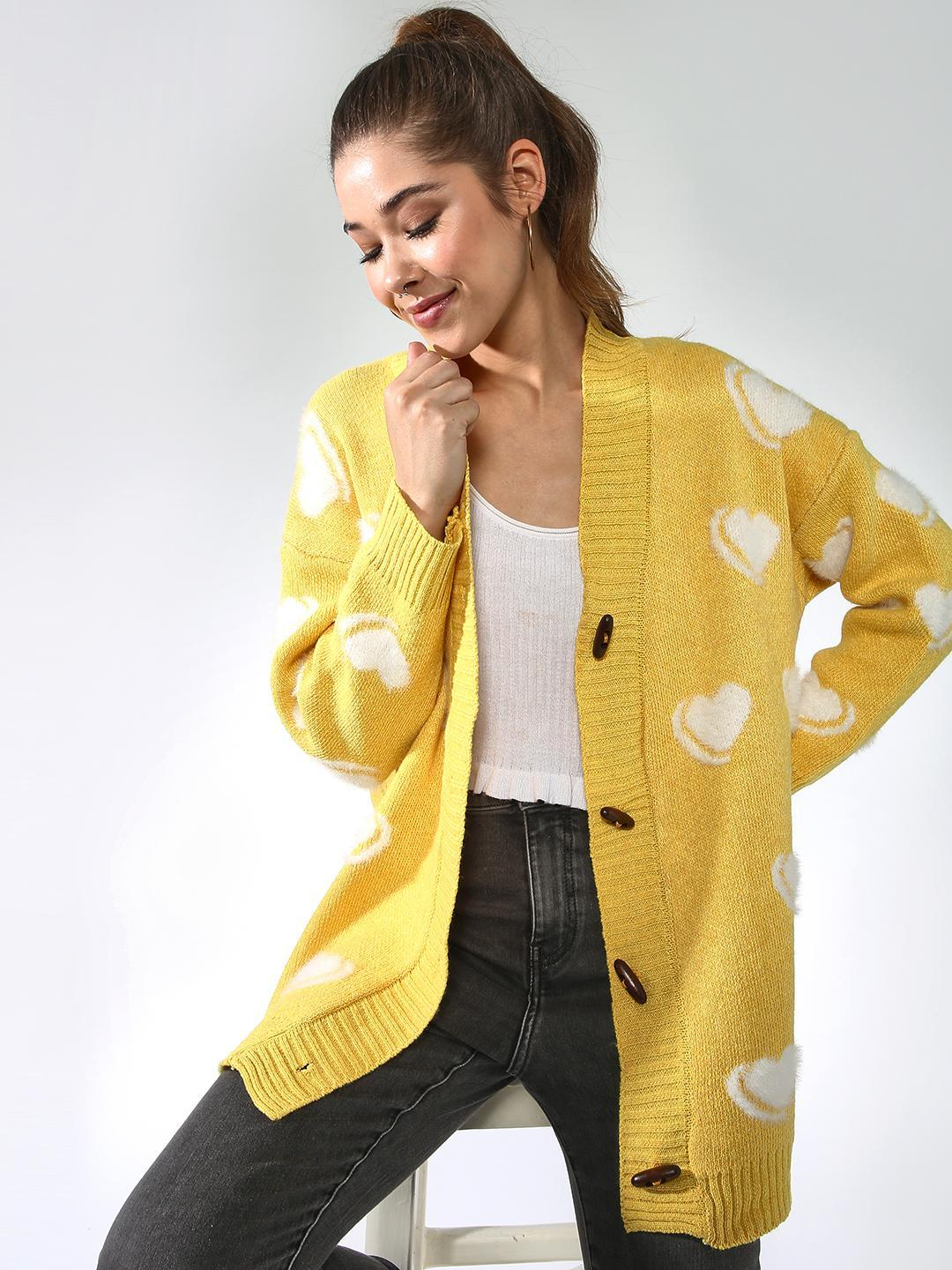 Blue Saint Yellow All Over Printed Cardigan 1