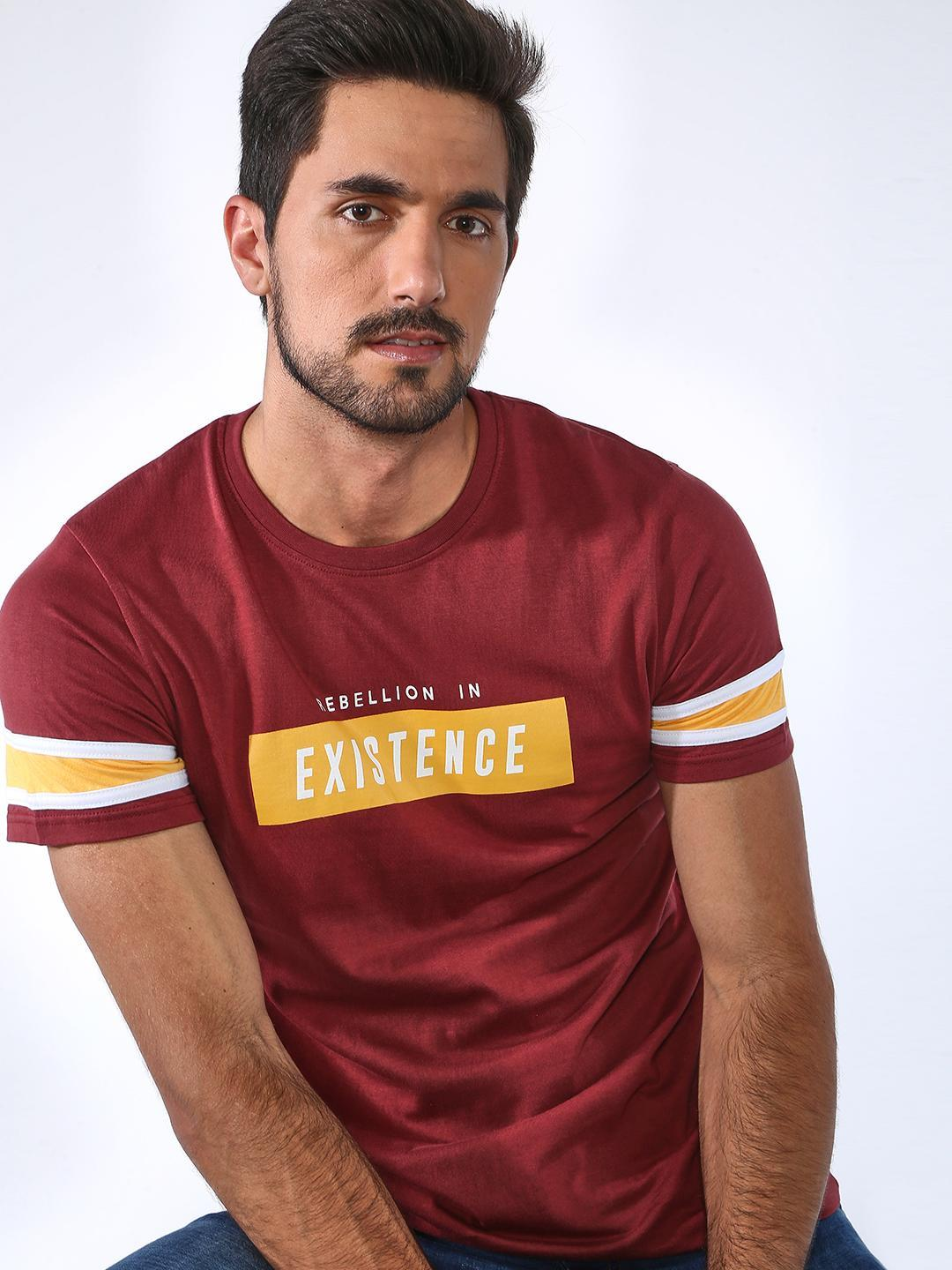 Blue Saint Maroon Slogan Print Crew Neck T-shirt 1