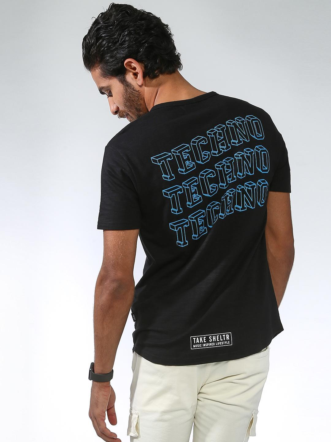 Sheltr Black Back Text Placement Casual T-shirt 1