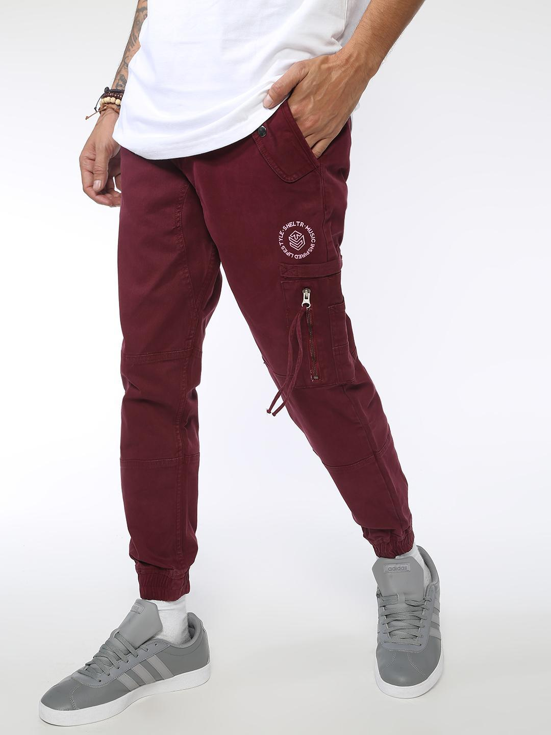 Sheltr Maroon Panelled Utility Joggers 1