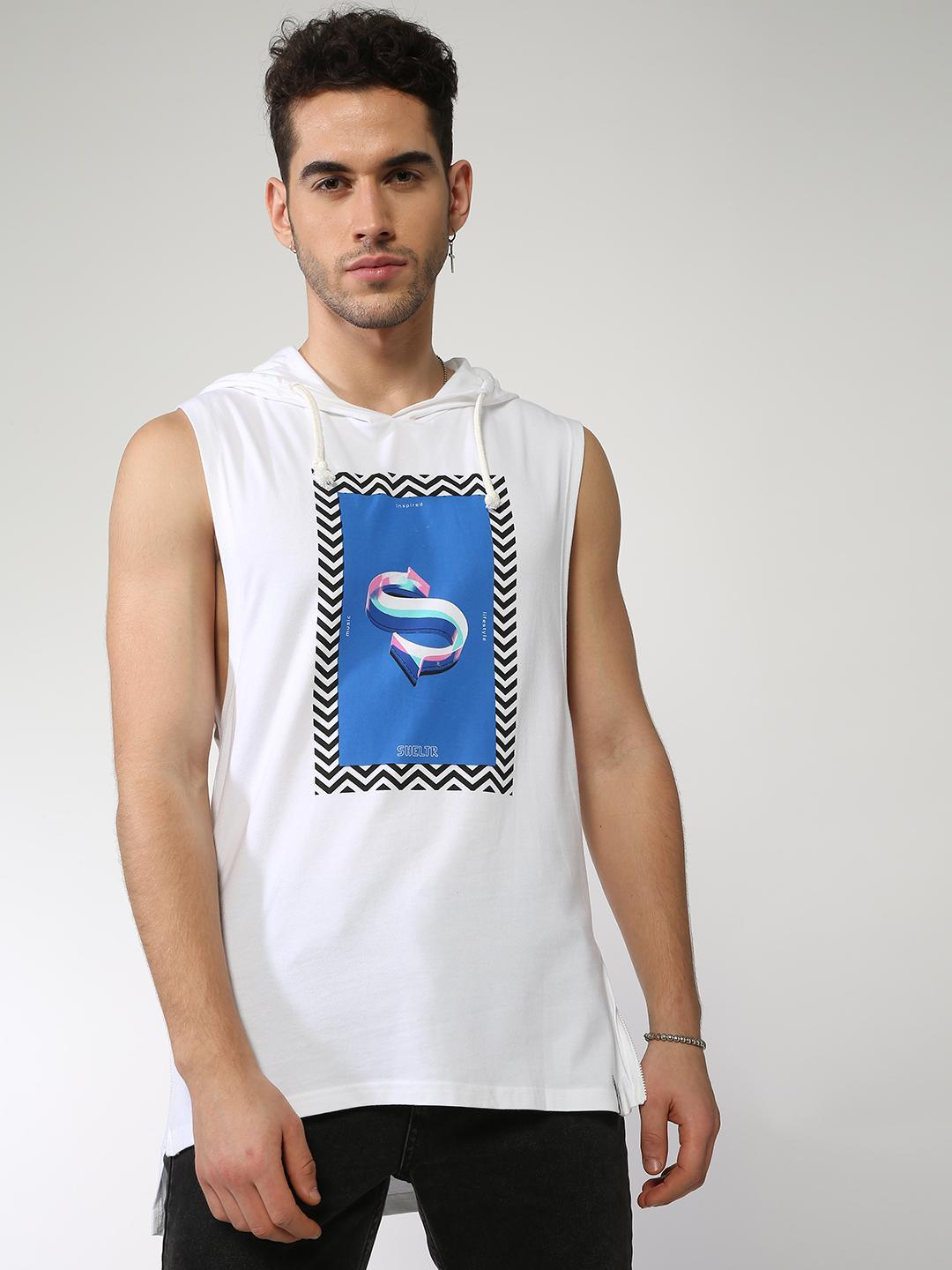 Sheltr White Placement Print Longline Vest 1