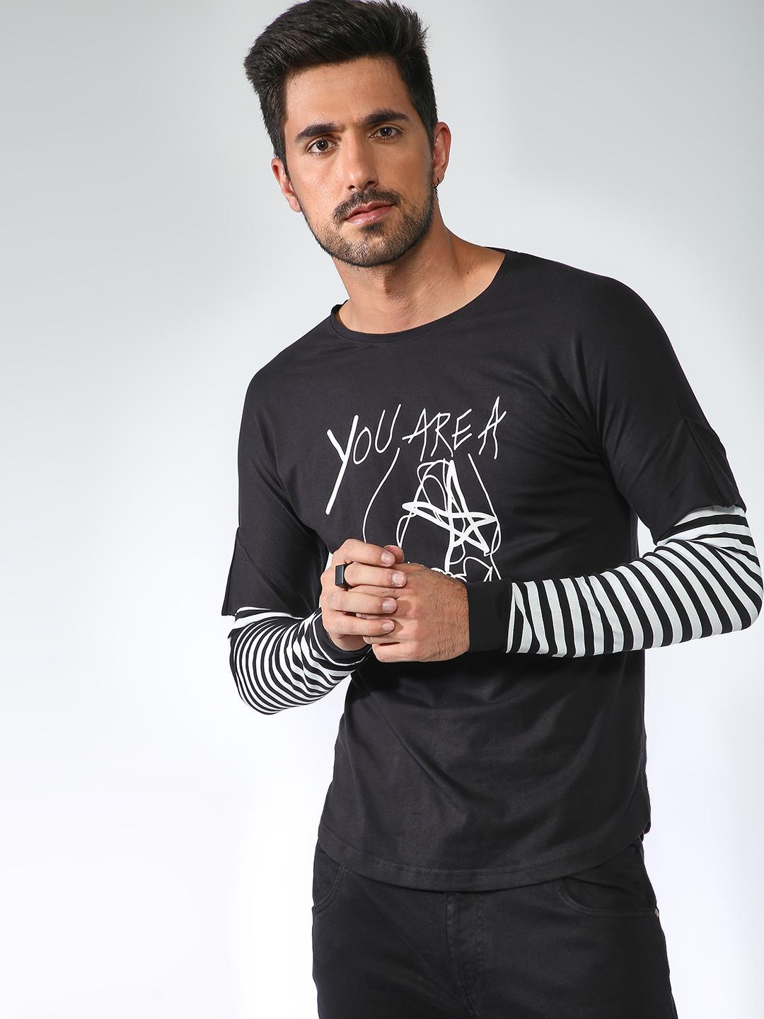 Sheltr Black Youarea Text Print Long Sleeve Crew Neck T-shirt 1