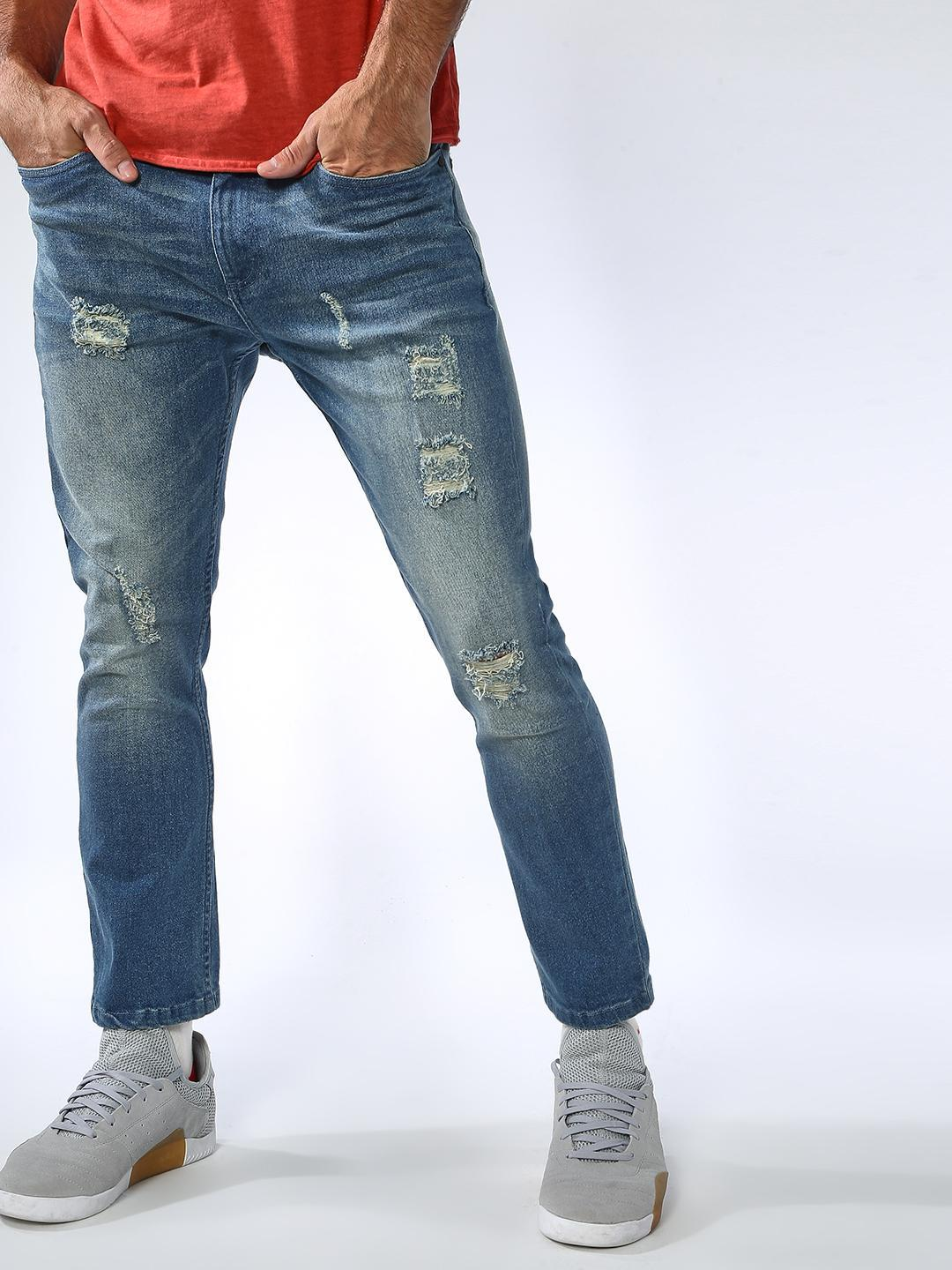 Sheltr Blue Light Shade Distressed Jeans 1