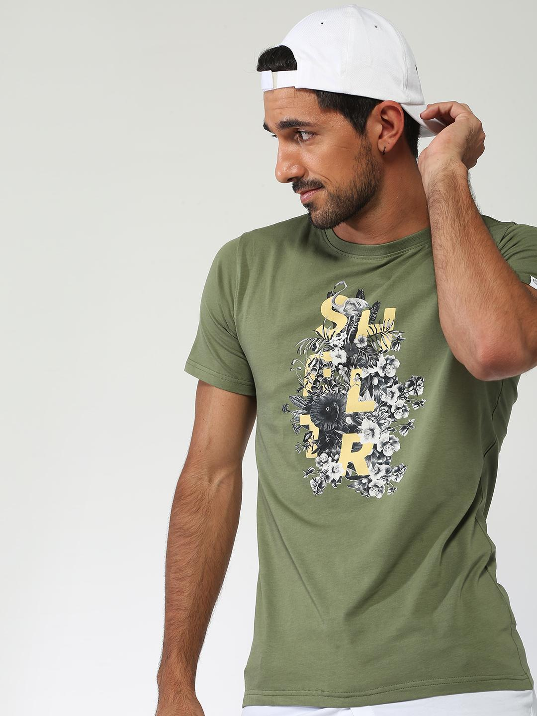 Sheltr Green Floral Text Placement Casual T-shirt 1