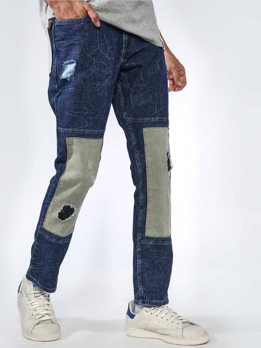 Sheltr Blue Over Sewed Patched Jeans 1