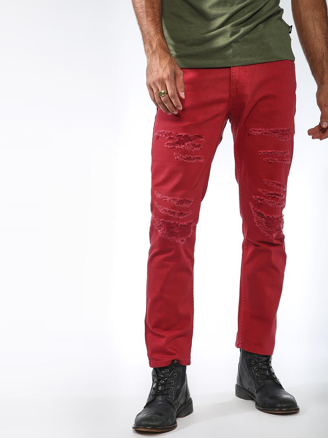 Sheltr Red All Over Distressed Slim Jeans 1