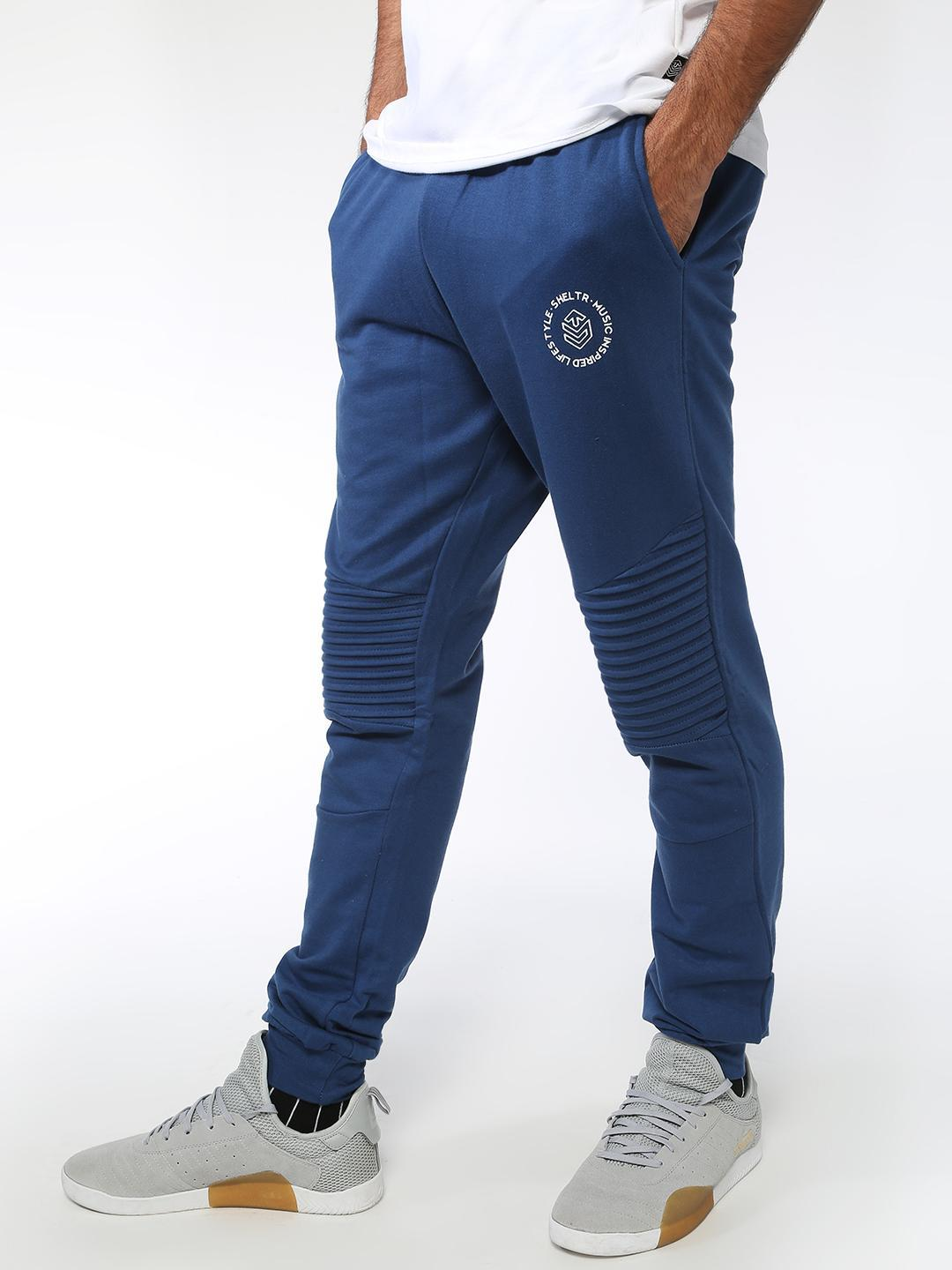 Sheltr Blue Biker Panel Slim Fit Joggers 1