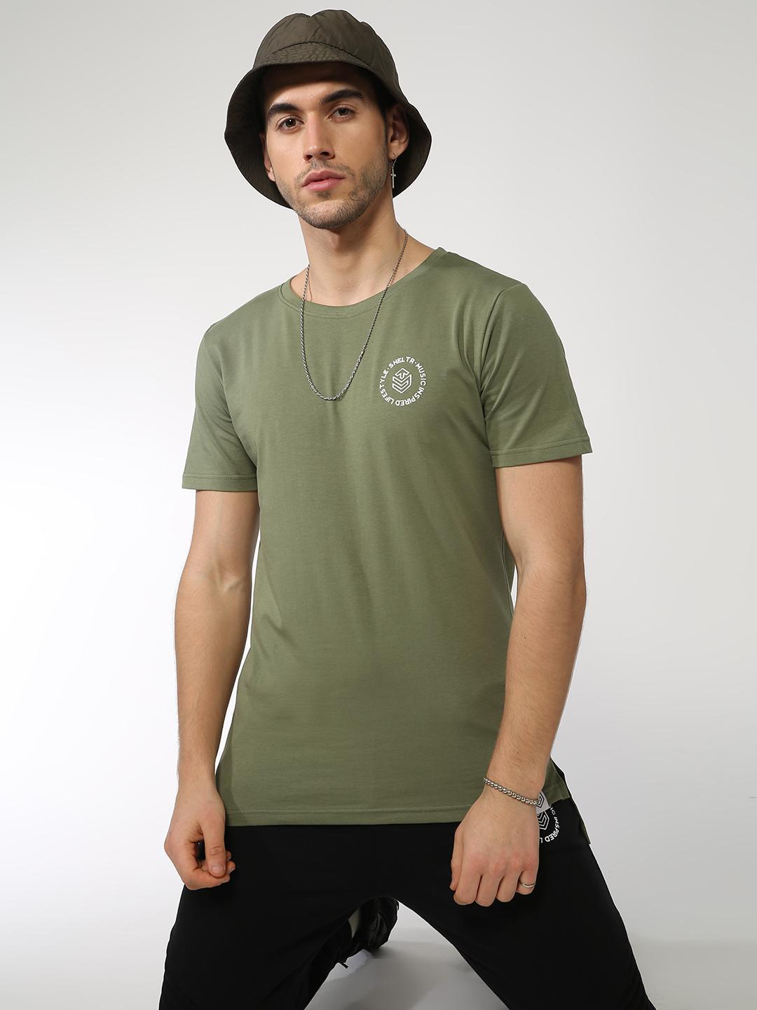 Sheltr Olive High-Low Hem Crew Neck T-shirt 1