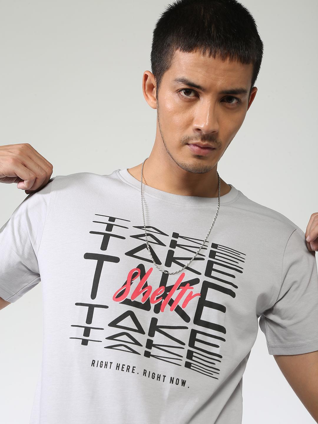 Sheltr Grey Text Placement Graphic Print T-Shirt 1