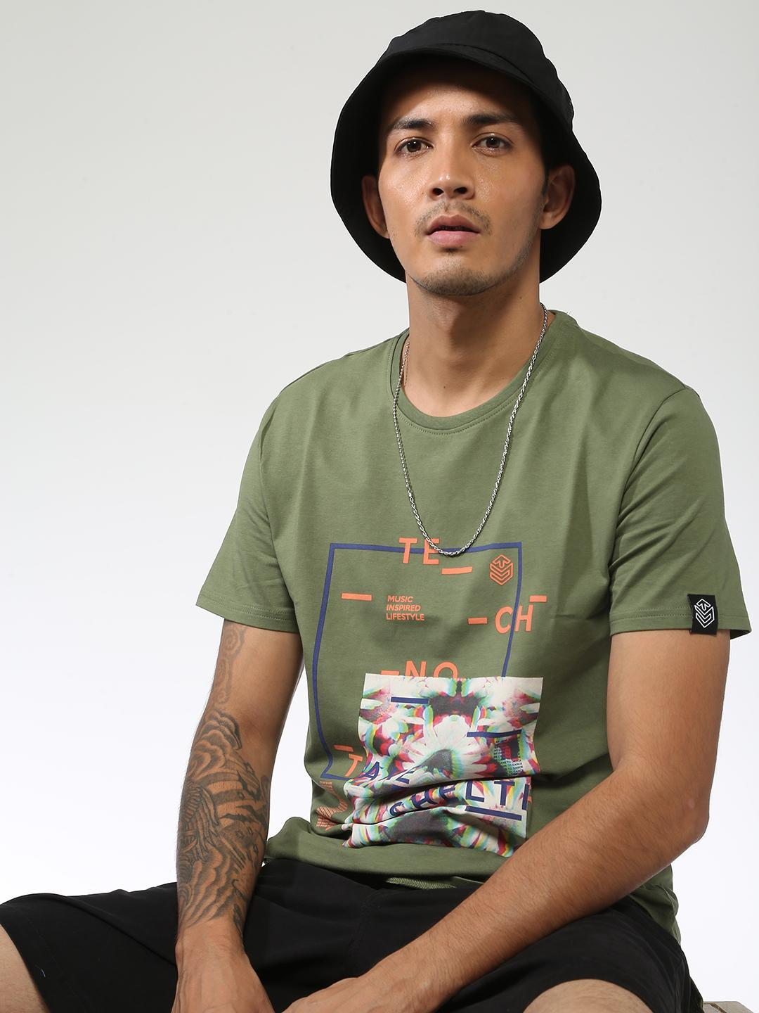 Sheltr Green Text Placement Graphic Print T-Shirt 1