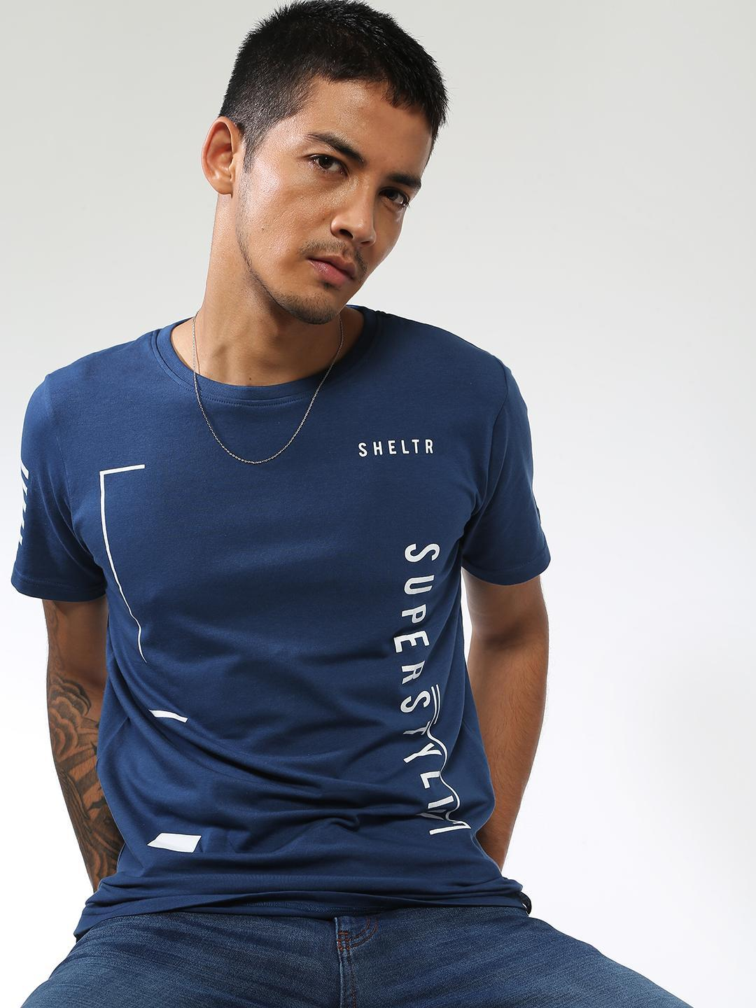 Sheltr Blue Text Placement Slim Fit T-Shirt 1