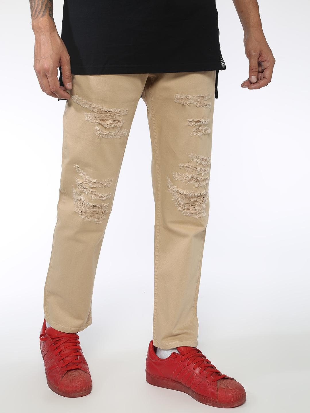 Sheltr Beige Basic Distressed Slim Fit Jeans 1