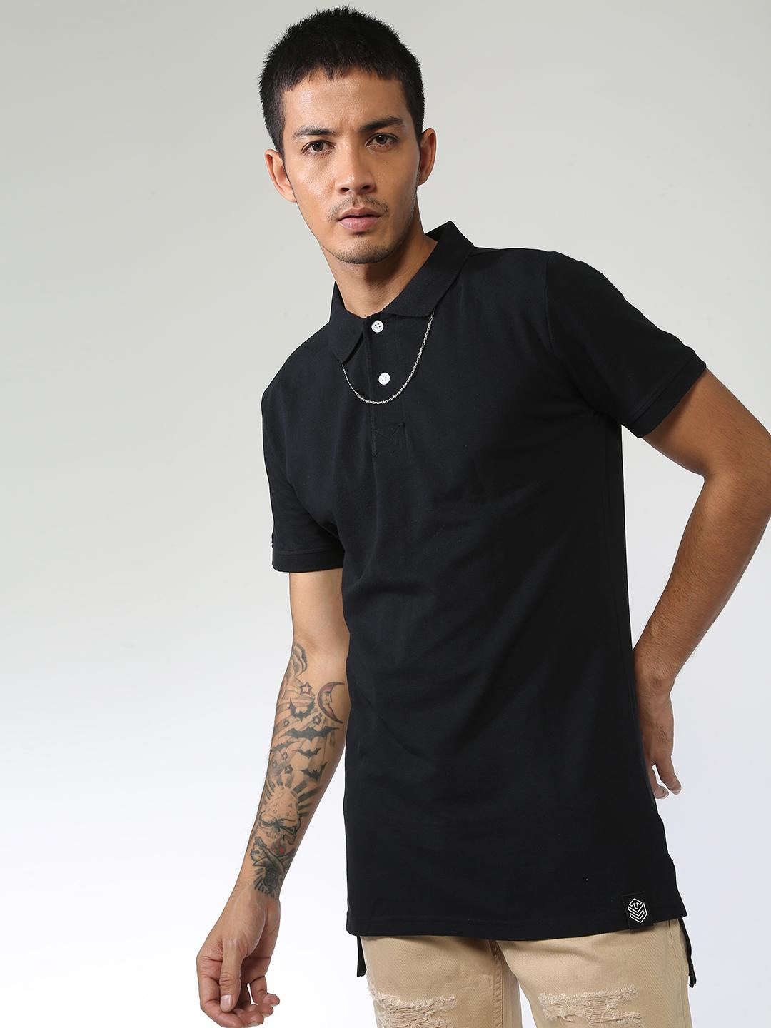 Sheltr Black Basic Short Sleeve Polo Shirt 1