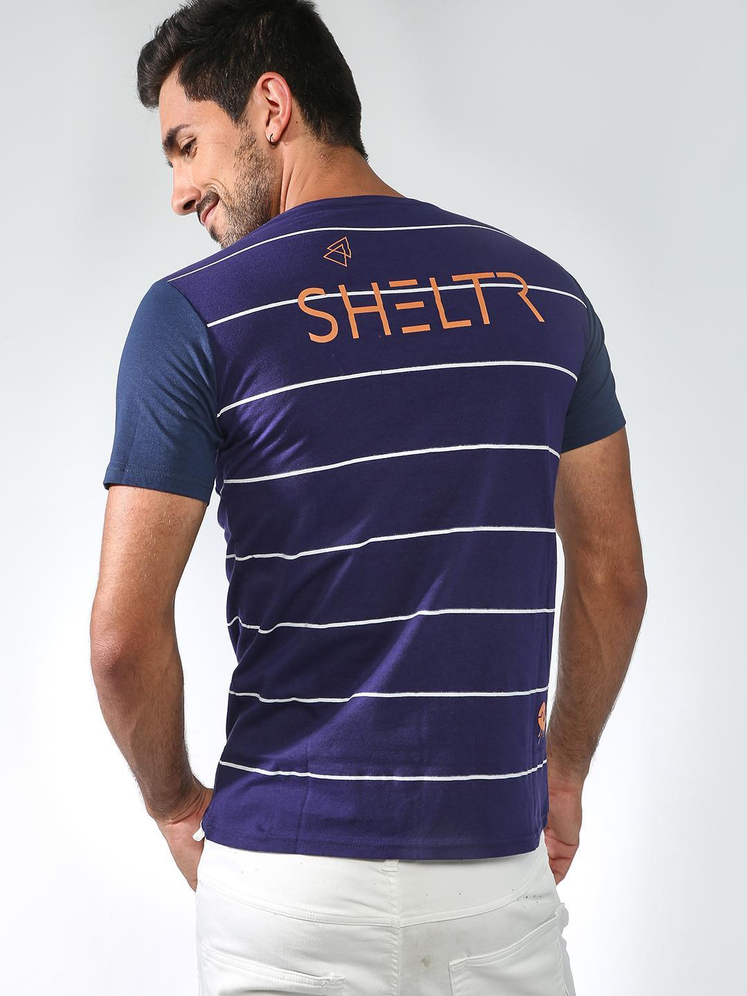 Sheltr Blue Patch Pocket Stripe Tshirts 1