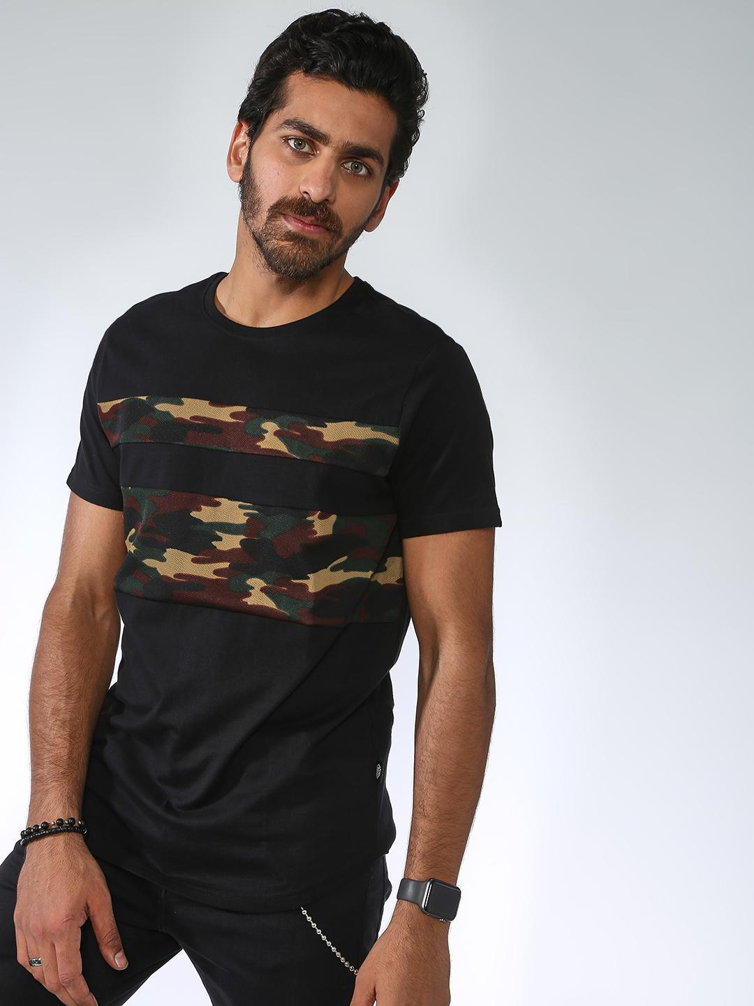 Sheltr Black Camo Print Panel Round Neck T-shirt 1