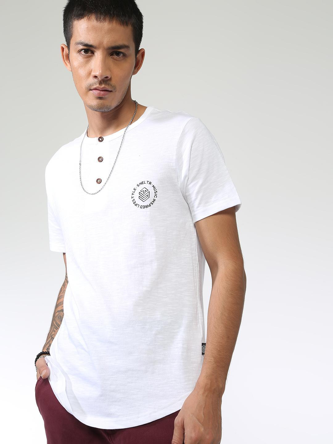 Sheltr White Back Text Placement Casual T-Shirt 1