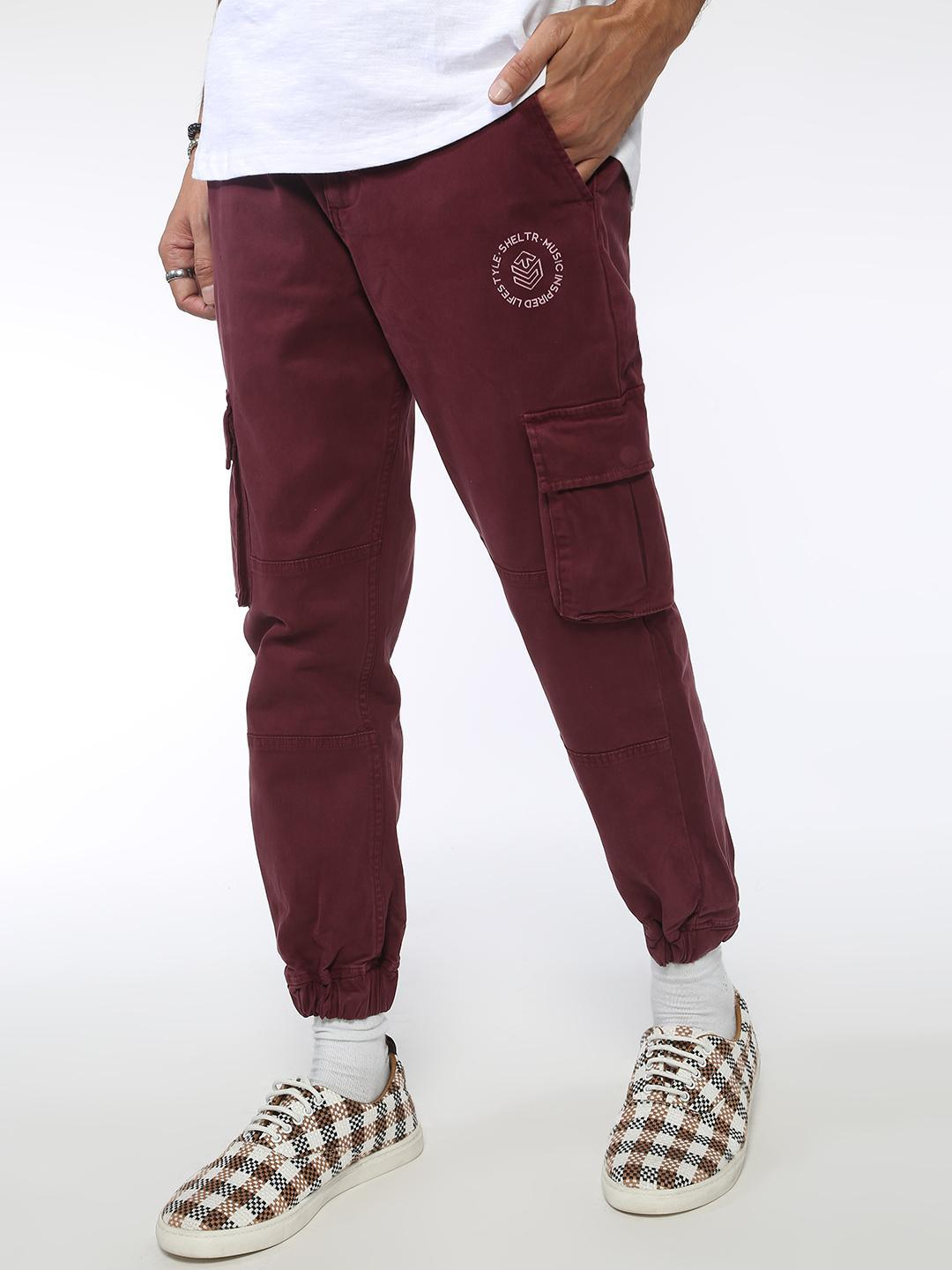 Sheltr Maroon Utility Cargo Pockets Slim Fit Joggers 1