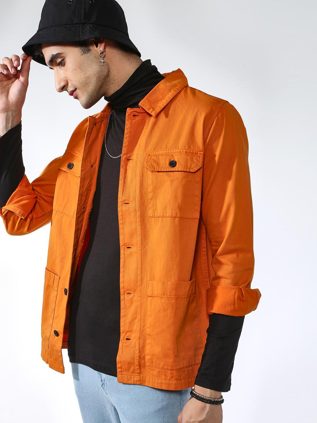 Blue Saint Orange Solid Slim Fit Jacket 1